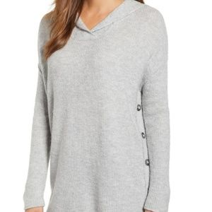 Caslon Hooded Sweater with Buttons